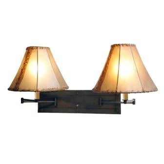 Rustic Log Cabin Lights - Steel Partners Lighting 2971-Dbl - Cabin Style Swing Arm Light - Double - San Carlos
