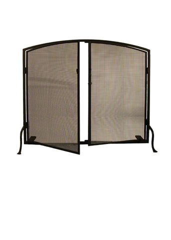 "Log Cabin Style Fireplace Screens Meyda 29853 - 40""W X 32""H Prime Arched Fireplace Screen"