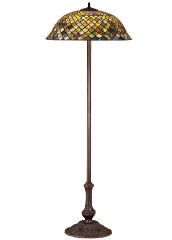 "Rustic Floor Lamps Meyda 30456 - 63""H Tiffany Fishscale Floor Lamp"