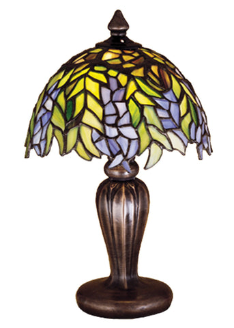 "Modern Rustic Table Lamps Meyda 30590 - 13""H Tiffany Honey Locust Mini Lamp"