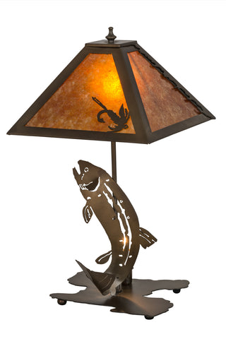 Cabin table lamps rusted dove modern lodge table lamps meyda 32532 21h leaping trout table lamp mozeypictures Image collections