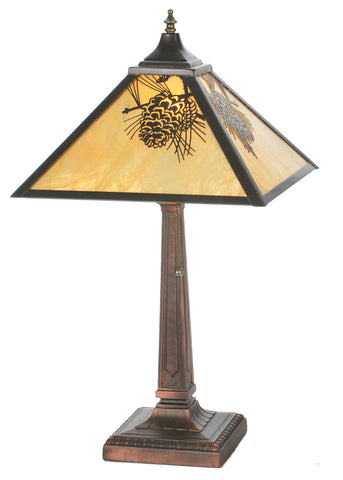 "Cabin Style Table Lamps Meyda 32789 - 23.5""H Winter Pine Mission Table Lamp"
