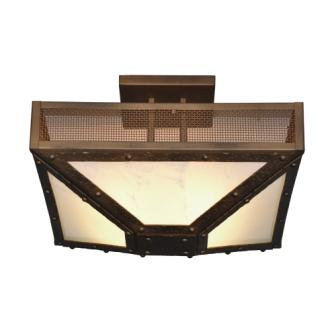 Rustic Farmhouse Lighting - Steel Partners Lighting 3574-M - Four Post Rustic Drop Ceiling Mount - Rogue River