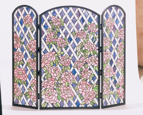 "Modern Log Cabin Fireplace Screens Meyda 35745 - 40""W X 34""H Rose Trellis Fireplace Screen"