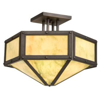 Modern Farmhouse Style Lighting - Steel Partners Lighting 3674 - Hexagon Rustic Drop Ceiling Mount - Rivets