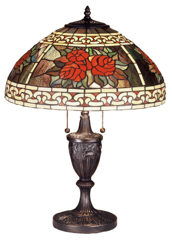 "Cabin Style Table Lamps Meyda 37788 - 25""H Roses & Scrolls Table Lamp"