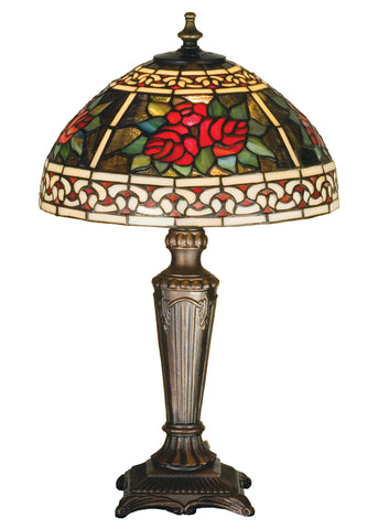 "Modern Farmhouse Table Lamps Meyda 37790 - 16.5""H Roses & Scrolls Accent Lamp"