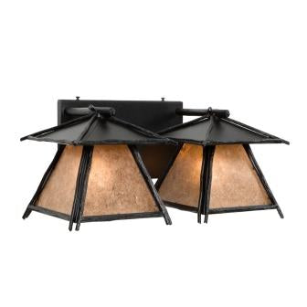 Rustic Log Cabin Lighting Fixtures - Steel Partners Lighting 4717 - Cascade Double Rustic Vanity Lights - Sticks