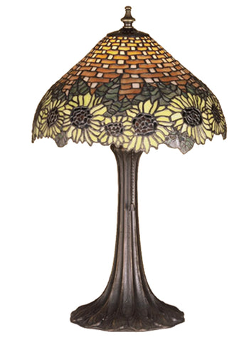 "Modern Cabin Style Table Lamps Meyda 47591 - 18.5""H Wicker Sunflower Accent Lamp"