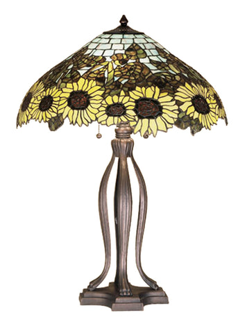 "Rustic Farmhouse Style Table Lamps Meyda 47592 - 30""H Wild Sunflower Table Lamp"