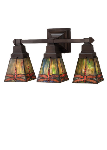 "Cabin Style Wall Sconce Lighting Meyda 48036 - 20""W Prairie Dragonfly 3 LT Vanity Light"
