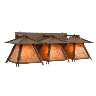 Modern Farmhouse Style Lighting Fixtures - Steel Partners Lighting 4817 - Cascade Triple Rustic Vanity Lights - Sticks