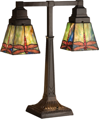 "Farmhouse Style Table Lamps Meyda 48203 - 19.5""H Prairie Dragonfly 2 Arm Desk Lamp"