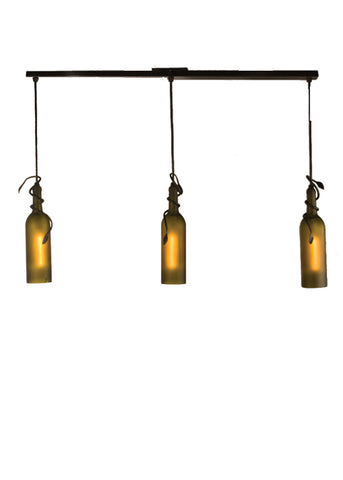 "Rustic Ceiling Lights Meyda 50638 - 34.5""L Tuscan Vineyard Frosted Green 3 LT Wine Bottle Island Pendant Light"