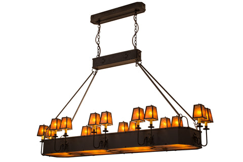 "Log Cabin Ceiling Lights Meyda 51057 - 82""L Carpathian 16 LT Oblong Chandelier"