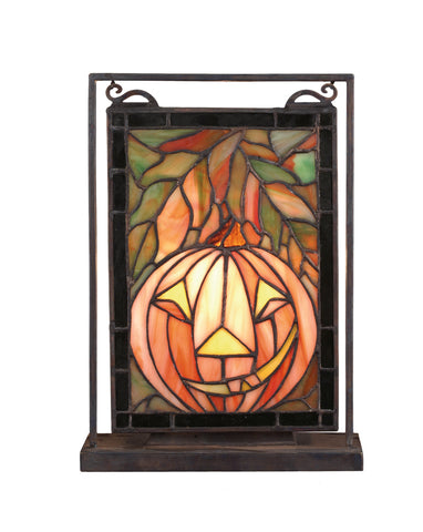 "Farmhouse Style Novelty Lamps And Accessories Meyda 65267 - 9.5""W X 10.5""H Jack O'Lantern Lighted Mini Tabletop Window"