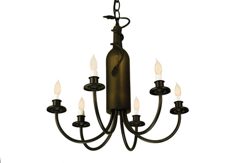 "Rustic Country Style Ceiling Lights Meyda 65616 - 17.5""W Tuscan Vineyard Frosted Green 6 LT Wine Bottle Chandelier"