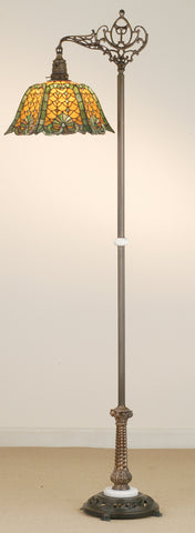"Rustic Cabin Floor Lamps Meyda 65830 - 69.5""H Duffner & Kimberly Shell & Diamond Bridge Arm Floor Lamp"