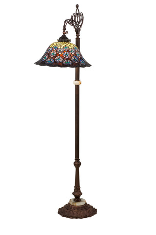 "Modern Lodge Style Floor Lamps Meyda 65840 - 61""H Tiffany Peacock Feather Bridge Arm Floor Lamp"