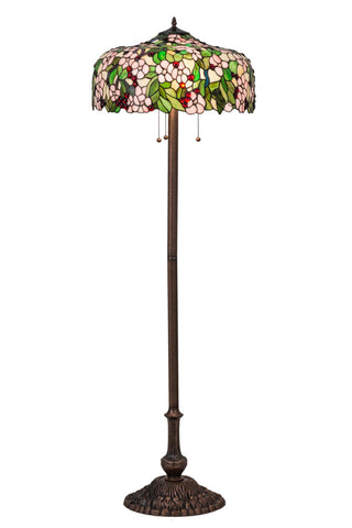 "Rustic Farmhouse Floor Lamps Meyda 66466 - 63""H Tiffany Cherry Blossom Floor Lamp"