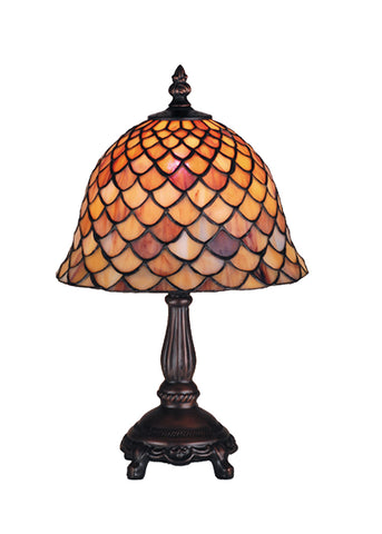 "Modern Farmhouse Style Table Lamps Meyda 67378 - 13.5""H Tiffany Fishscale Mini Lamp"