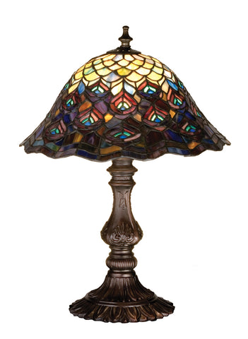"Lodge Style Table Lamps Meyda 67885 - 16.5""H Tiffany Peacock Feather Accent Lamp"