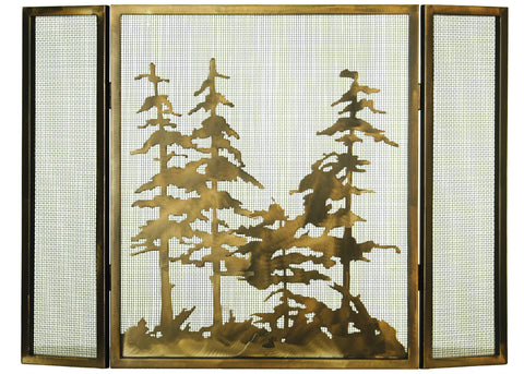 "Lodge Style Fireplace Screens Meyda 68388 - 36""W X 26""H Tall Pines Fireplace Screen"