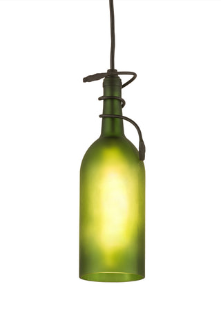"Rustic Cabin Style Ceiling Lights Meyda 71191 - 4""W Tuscan Vineyard Frosted Green Wine Bottle Mini Pendant Light"