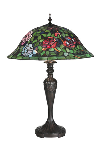 "Rustic Country Style Table Lamps Meyda 72443 - 28""H Tiffany Rosebush Table Lamp"