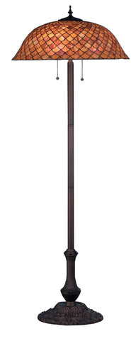 "Rustic Log Cabin Style Floor Lamps Meyda 81064 - 64""H Tiffany Fishscale Floor Lamp"