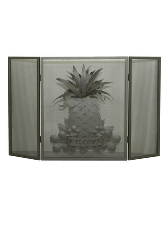 "Rustic Style Fireplace Screens Meyda 81084 - 49""W X 30""H Welcome Pineapple Fireplace Screen"