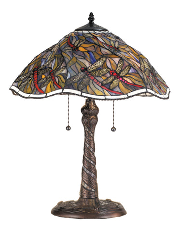 "Modern Lodge Table Lamps Meyda 82310 - 23.5""H Spiral Dragonfly w/ Twisted Fly Mosaic Base Table Lamp"