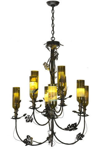 "Modern Cabin Style Ceiling Lights Meyda 82695 - 34""W Tuscan Vineyard 9 Arm Wine Bottle Chandelier"