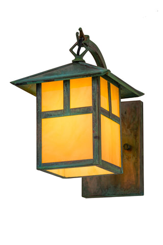 "Modern Log Cabin Style Outdoor Lighting Meyda 84729 - 7""W Seneca ""T"" Mission Curved Arm Wall Sconce"