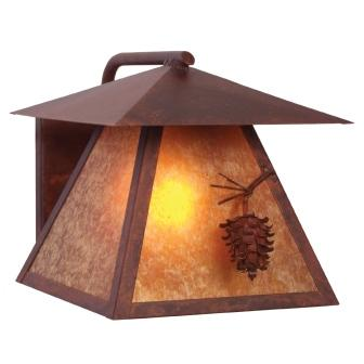 Modern Rustic Light Fixture - Steel Partners Lighting 9165 - Rustic Indoor / Outdoor Sconce - Ponderosa Pine - Wet Location