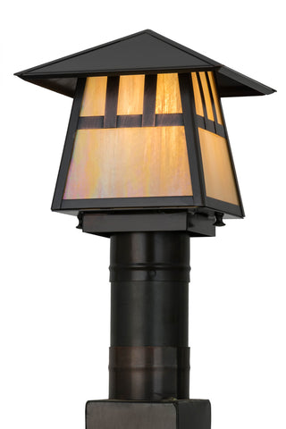 "Rustic Country Style Outdoor Lighting Meyda 92517 - 8""Sq Stillwater Double Bar Mission Post Mount"
