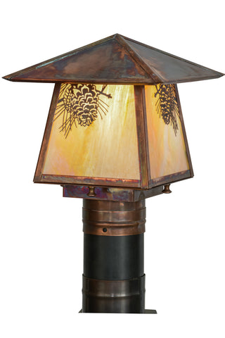 "Rustic Lodge Style Outdoor Lighting Meyda 92520 - 8""Sq Stillwater Winter Pine Post Mount"