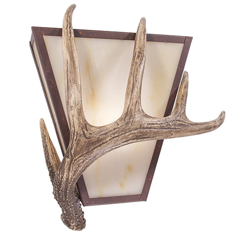Modern Rustic Light Fixtures - Steel Partners Lighting 9491 - Lodge Style Lighting Sconce - Vegas - Antler
