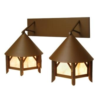 Modern Lodge Light Fixtures - Steel Partners Lighting 9522 - Twin Rustic Vanity Lights - Campromise