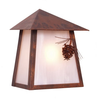 Modern Cabin Style Light Fixtures - Steel Partners Lighting 9765 - Rustic Cabin Sconce - Tri Roof - Ponderosa Pine