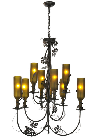 "Lodge Ceiling Lights Meyda 99035 - 34""W Tuscan Vineyard 9 LT Wine Bottle Chandelier"