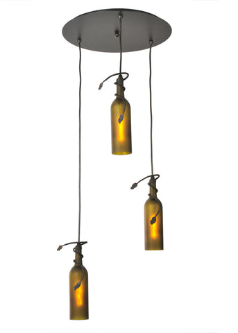 "Modern Rustic Ceiling Lights Meyda 99437 - 16""W Tuscan Vineyard Frosted Green 3 LT Wine Bottle Cascading Pendant Light"