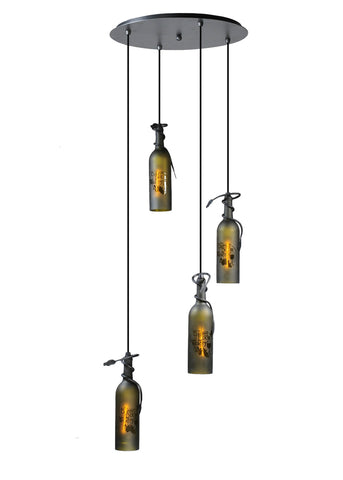 "Modern Log Cabin Style Ceiling Lights Meyda 99824 - 18""W Tuscan Vineyard Etched 4 Bottle Cascading Pendant Light"