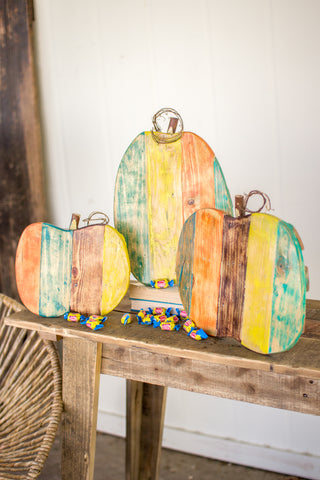 S Of 3 Recycled Painted Wooden Pumpkins