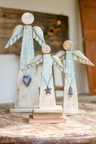 Set Of Three Painted Recycled Wood Angels On Stand