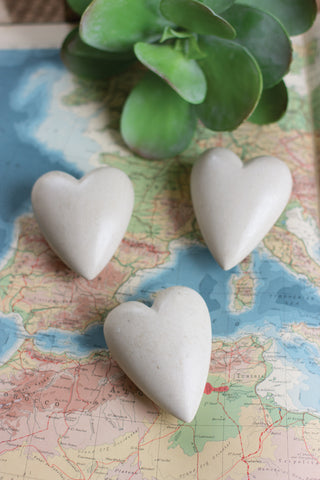 Set Of Six Hand Carved Stone Hearts-Light Grey