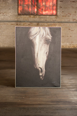 Oil Painting Black & White Front View Horse W Silver Frame