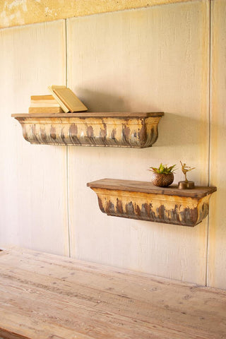 Set Of Two Rustic Metal Shelves With Wood Tops