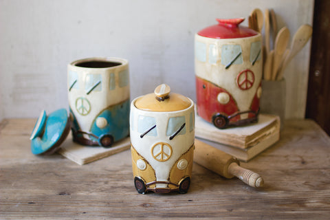Set Of Three Ceramic Van Canisters With Surfboard Handles