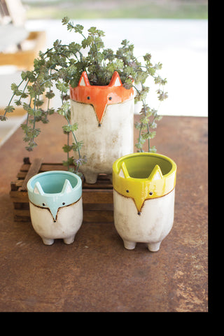 Set Of Three Ceramic Fox Planters